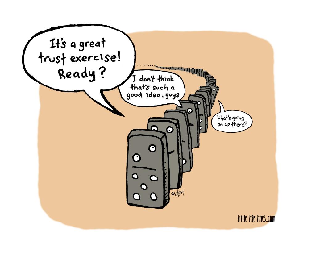 Dominoes doing trust fall exercise
