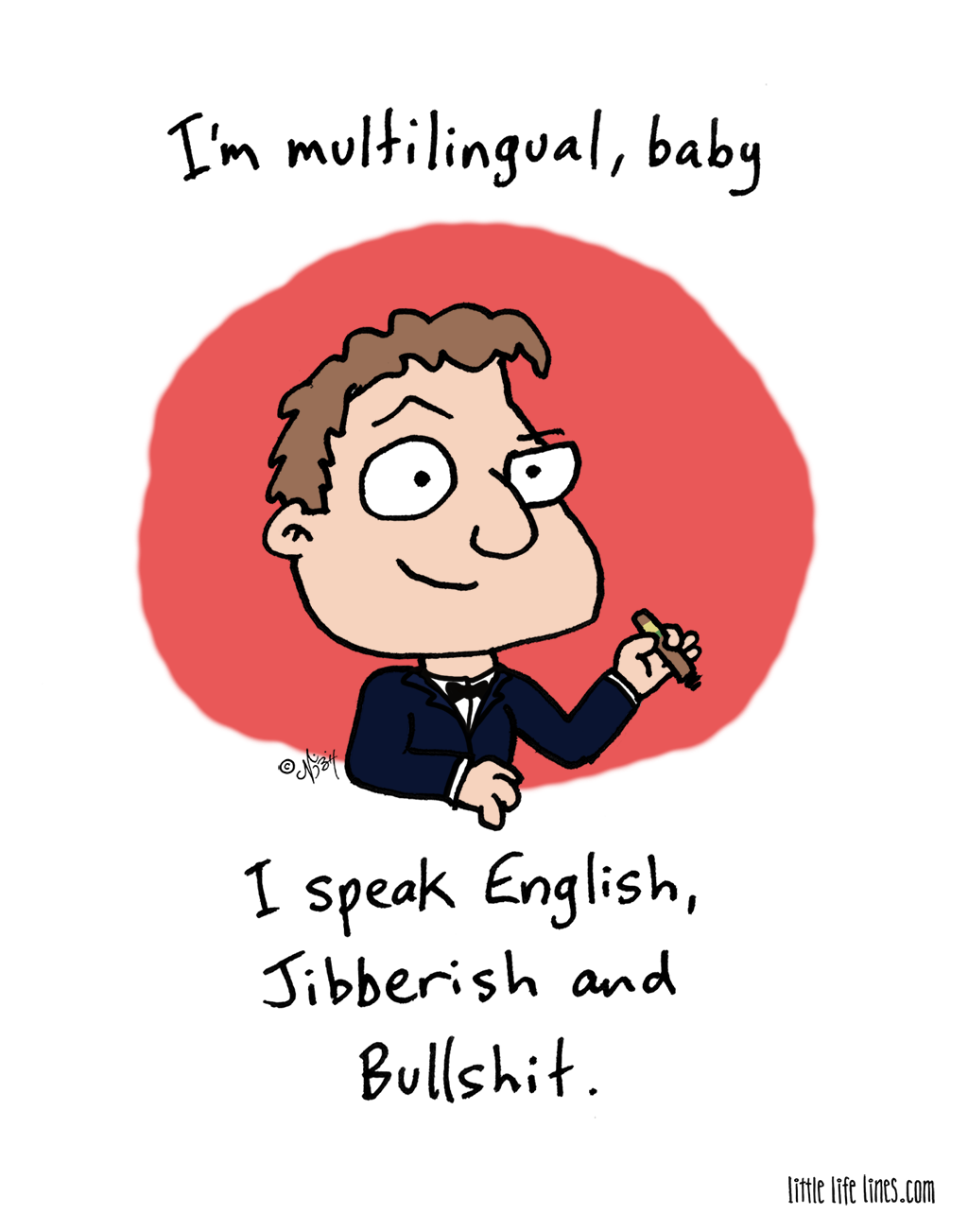 Multilingual cartoon man speaks several languages