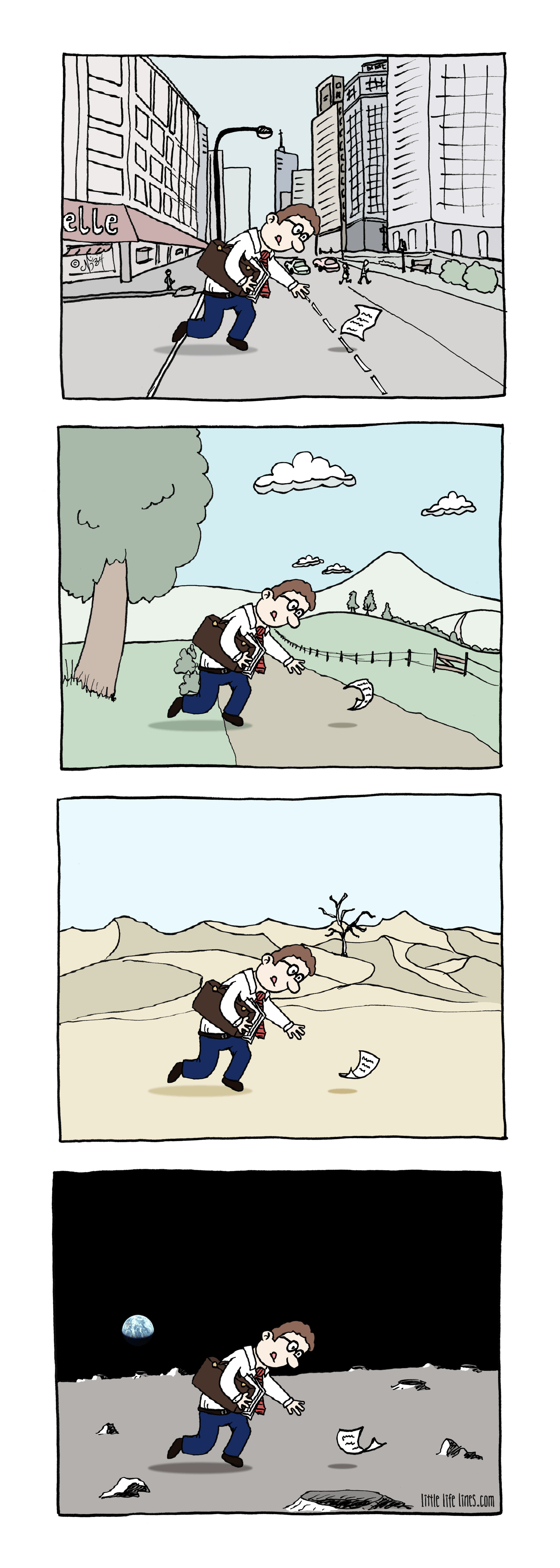 Man chasing paper in the wind