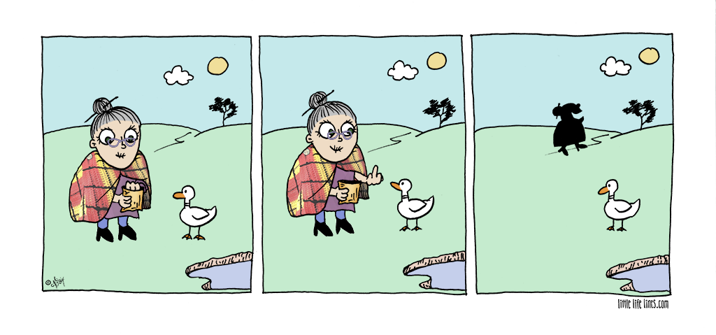 nice old lady feeding ducks