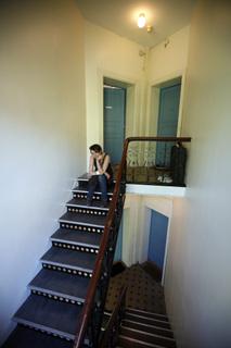 Jeg på toppen av trappa. Bildet er tatt flere år senere.