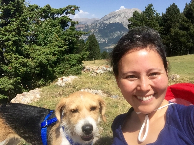 Mini and me at the top of Coll de Portet, with Pedraforca in the background, just north of us.