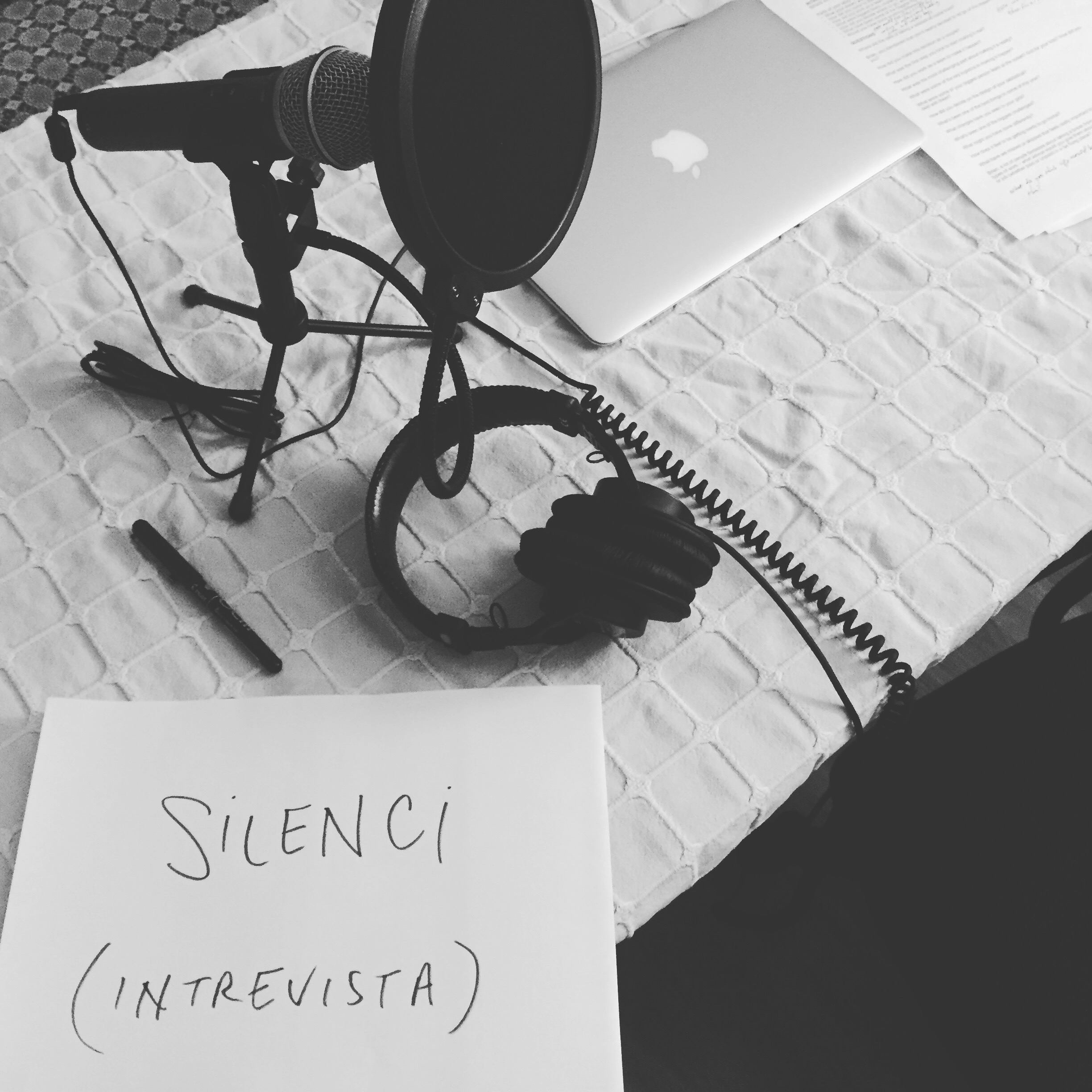 """My beginning set up, complete with a door sign in Catalan (misspelling """"entrevista"""") to alert my patient and understanding family that they needed to tip-toe around my home office when I was recording."""