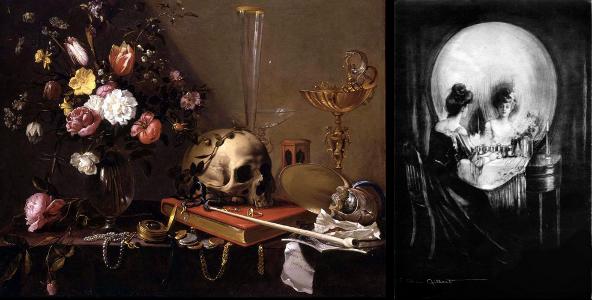 Adriaen van Utrecht- Vanitas - Still Life with Bouquet and Skull (Left) Charles Allan Gilbert - All Is Vanity (Right)
