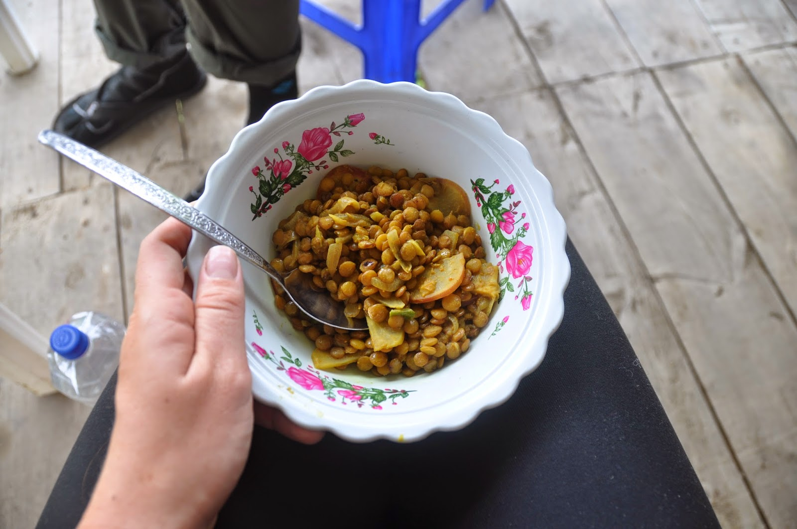 Curried lentils with a handful of vegetables we were able to scrounge up.
