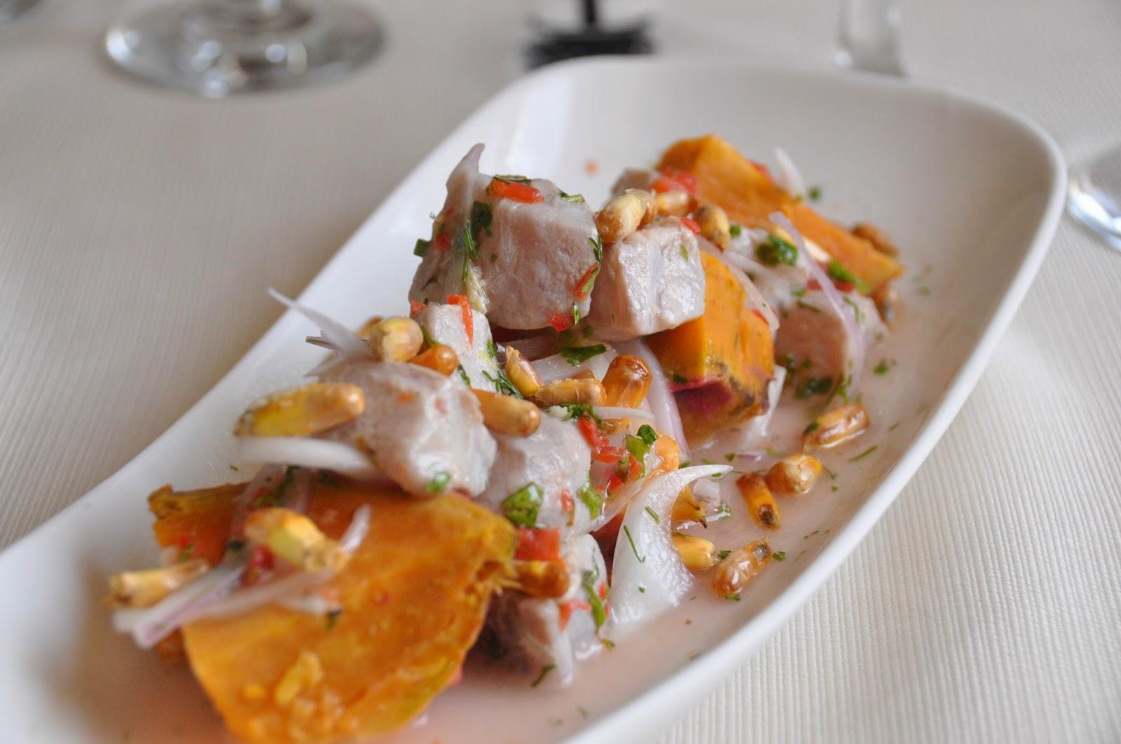 Ceviche with mahi mahi and sweet potatoes