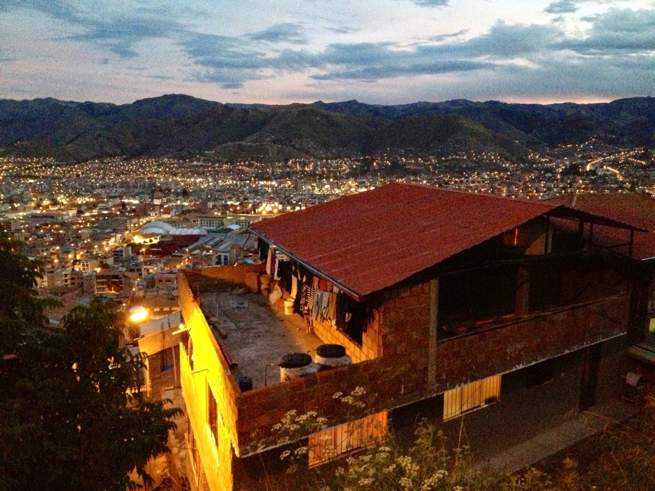 Night time viewpoint Cusco Peru
