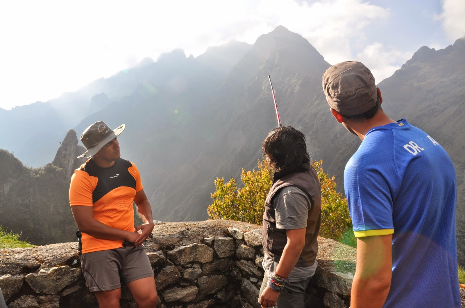 """Our guide, William, pointing out """"Dead Woman's Pass"""", which we had crossed the previous day. Damn, we were high!"""