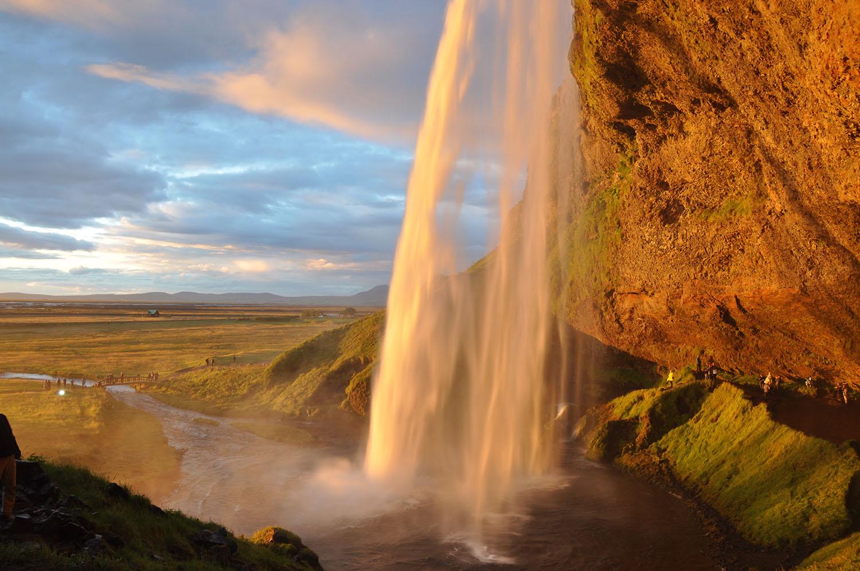 Seljalandsfoss Waterfall Sunset Iceland