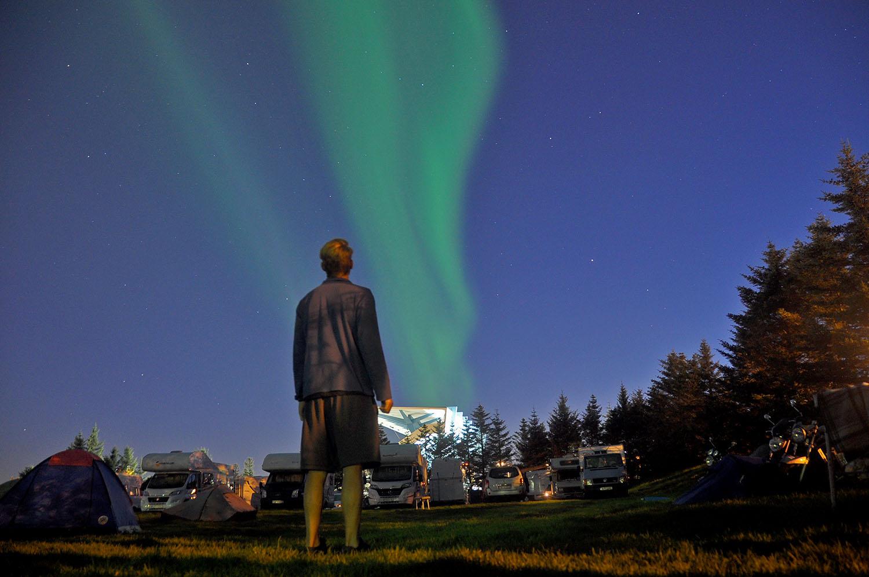 Northern Lights Green in Reykjavik Iceland