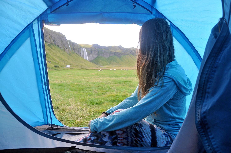 Camping near Seljalandsfoss Waterfall Iceland