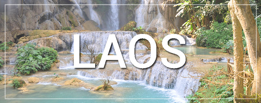 Laos Waterfall Country Button