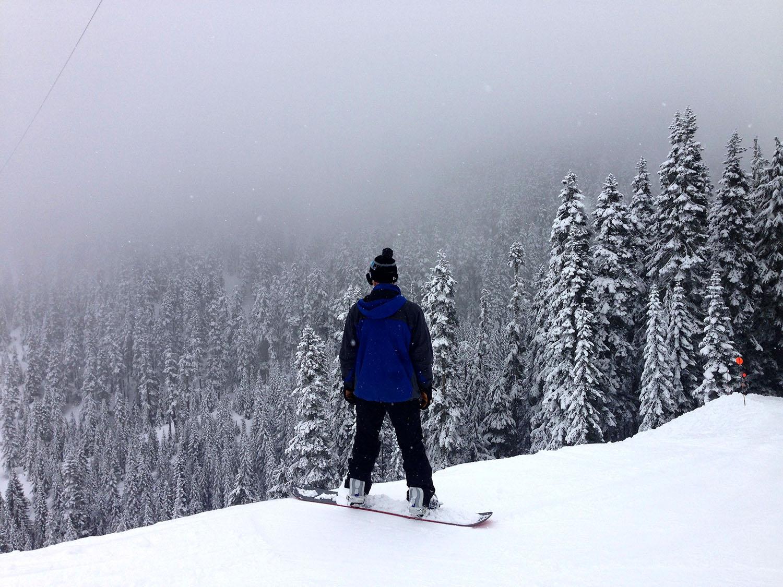 Snowboarding at Stevens Pass Washington