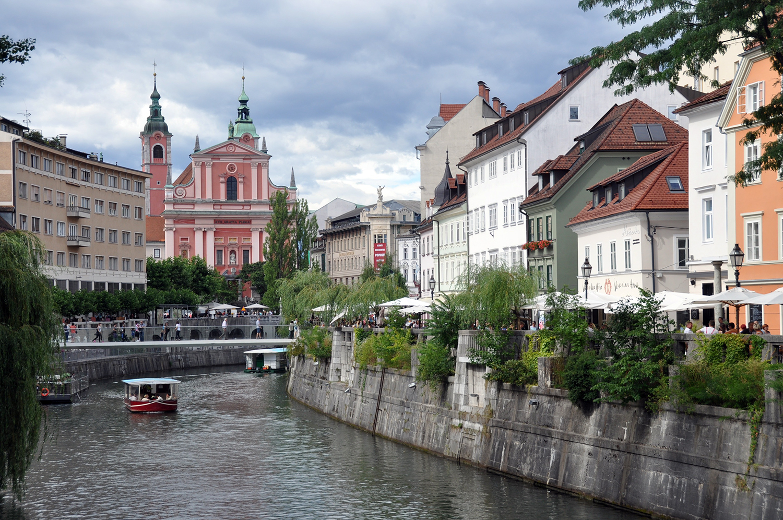 River and Buildings Ljubljana Slovenia Travel