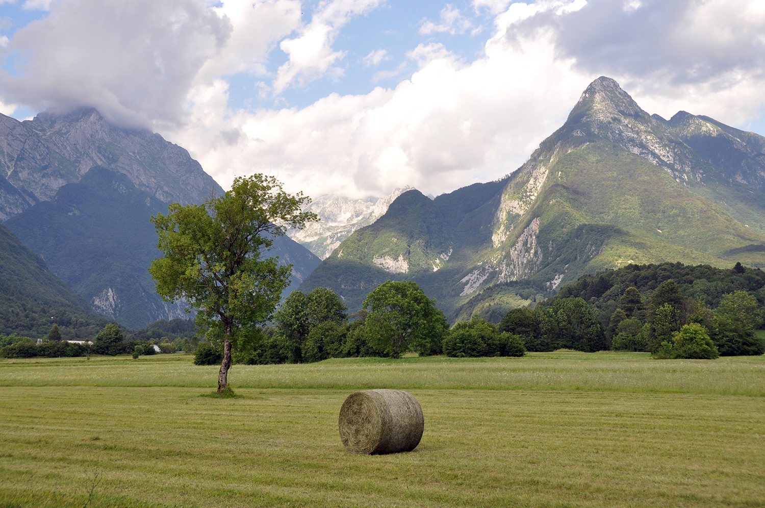 Hay Field and Mountains Bovec Slovenia Travel