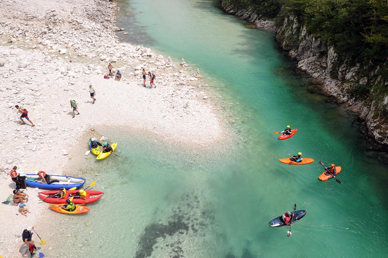 Whitewater kayaking Bovec Soca River Ljubljbana