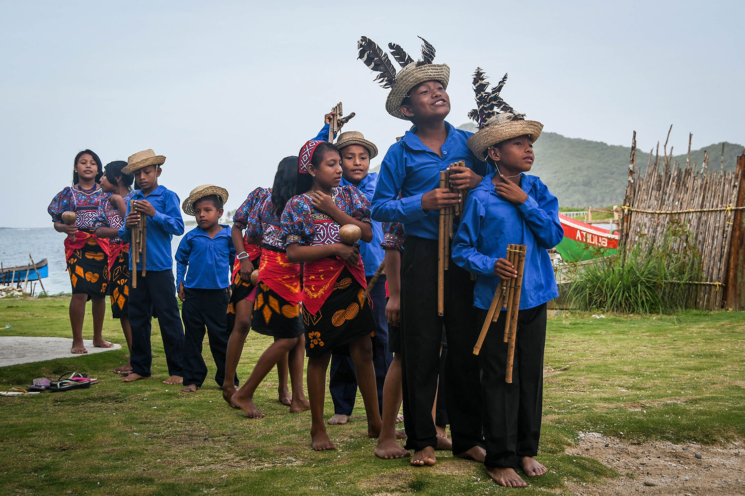 San Blas Islands Panama to Colombia Kuna Children Dance