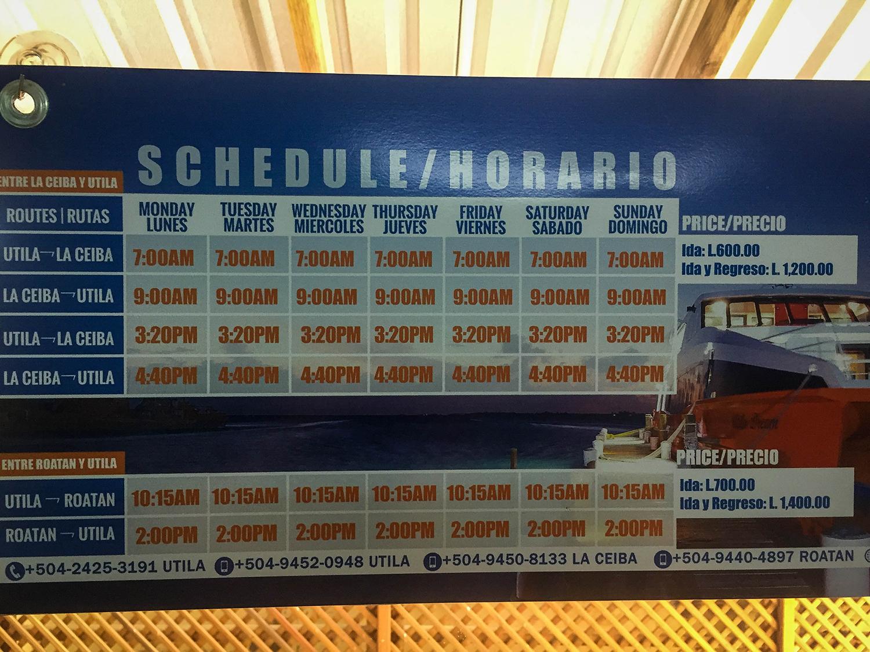 Roatan vs. Utila Honduras Bay Island Ferry Schedule