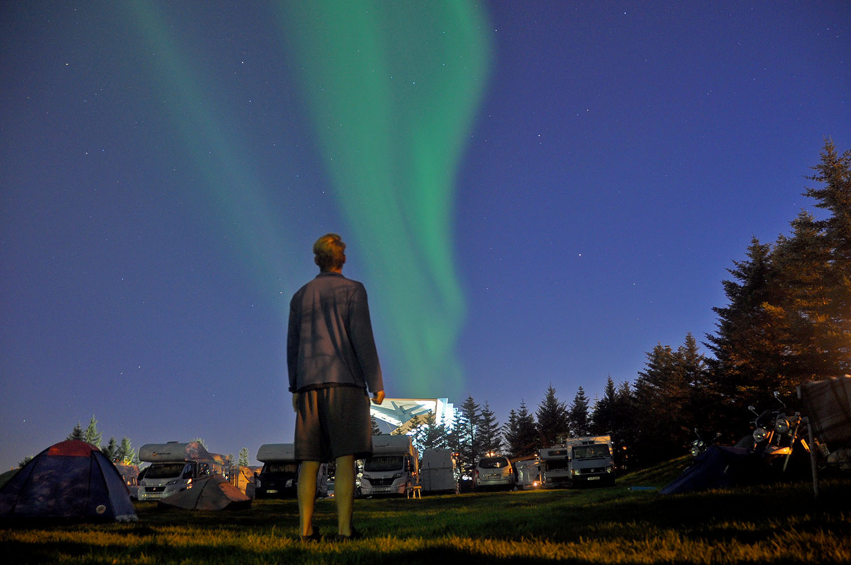 Campervan vs Tent Camp Iceland Campsite northern Lights