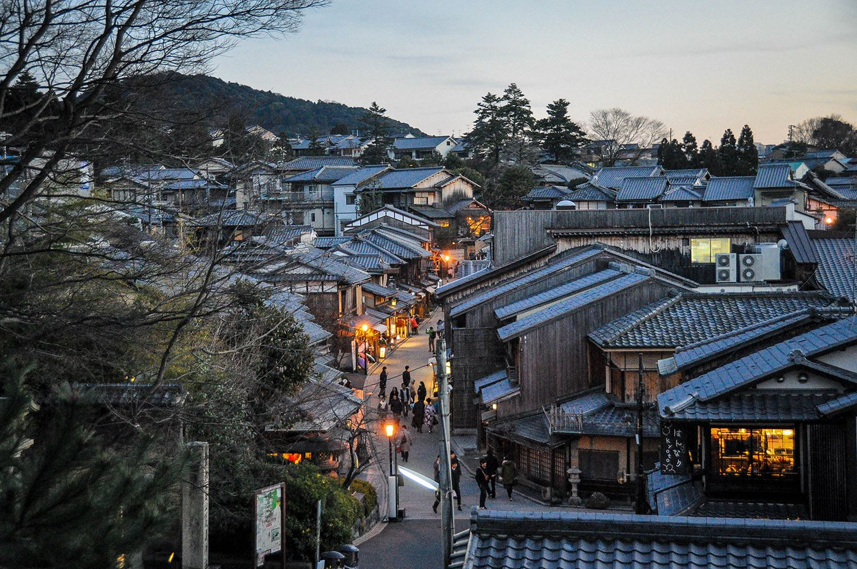 Japan Traditional Village at Dusk Walking Street