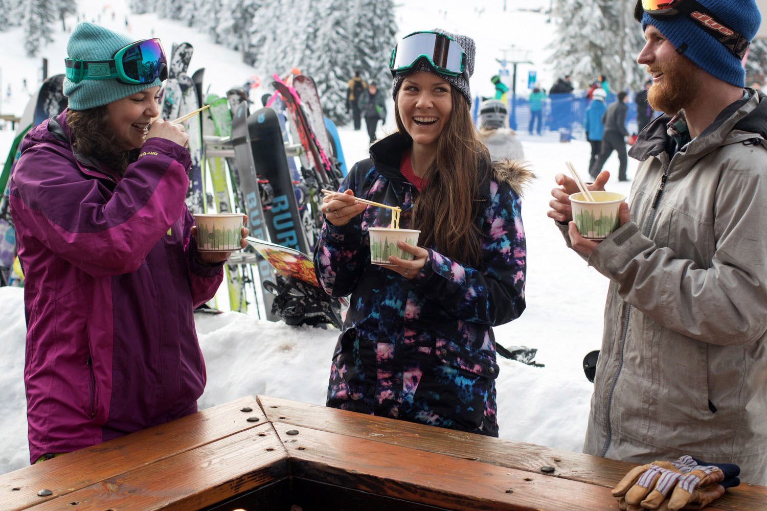 Best Things to Do in Washington State Snowboarding Eating Noodles
