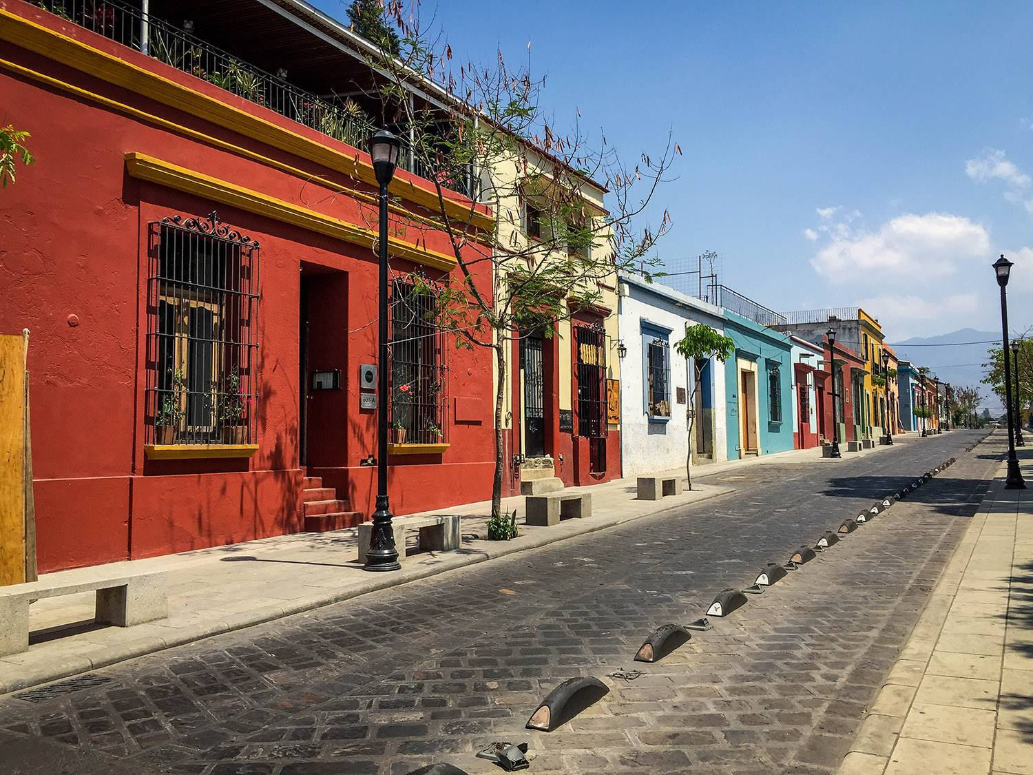 Things to Do in Oaxaca City Street Colorful Buildings