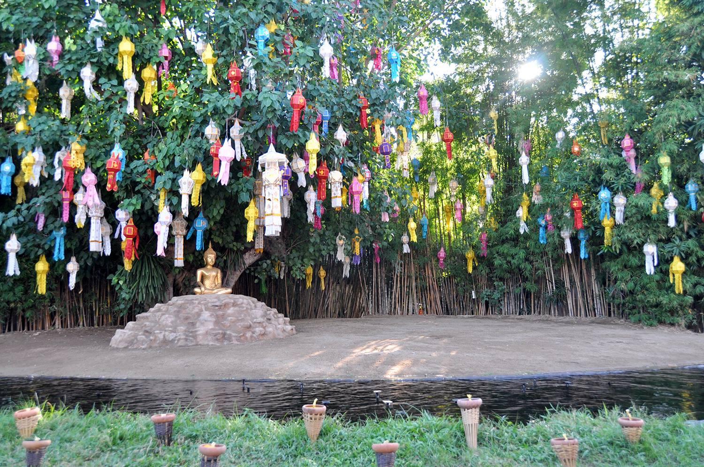 Yi Peng Loy Krathong Chiang Mai Thailand Wat Phan Tao
