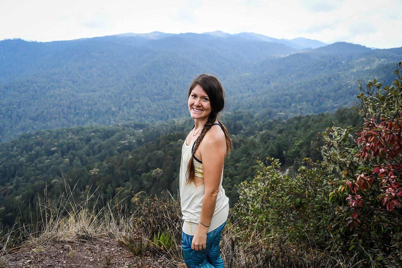 Hiking in Oaxaca Sierra Norte Villages Viewpoint Girl