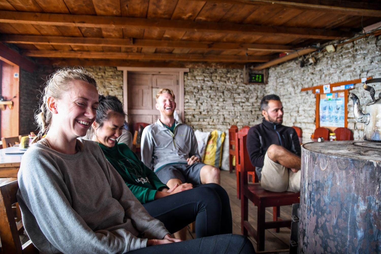 Mohare Danda Trek Hanging out in Lodge