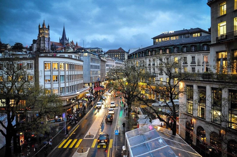 Switzerland Lausanne Street at Night Sustainable Tourism