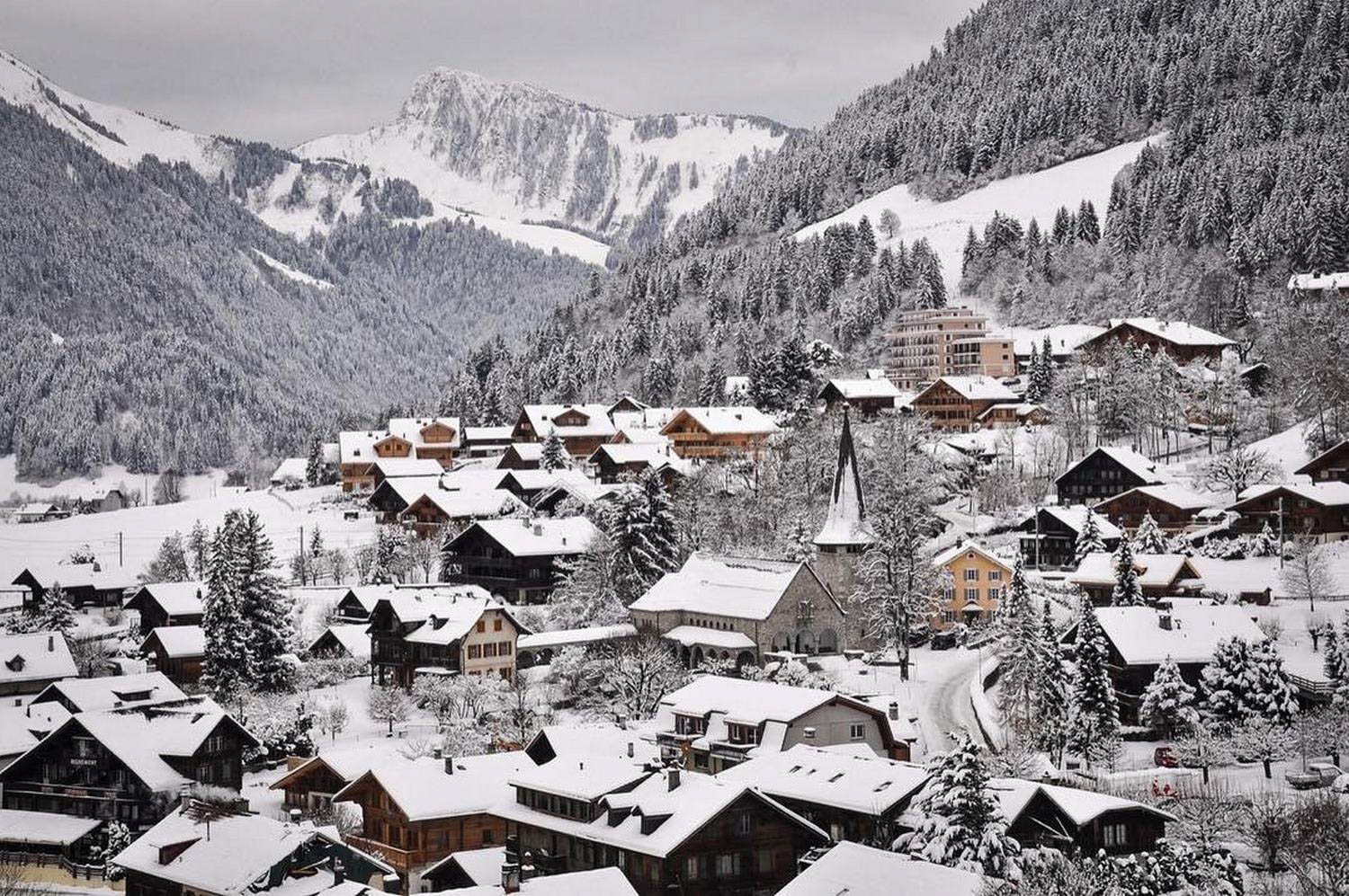 Chateau D'Oex Winter Snow Switzerland Sustainable Tourism