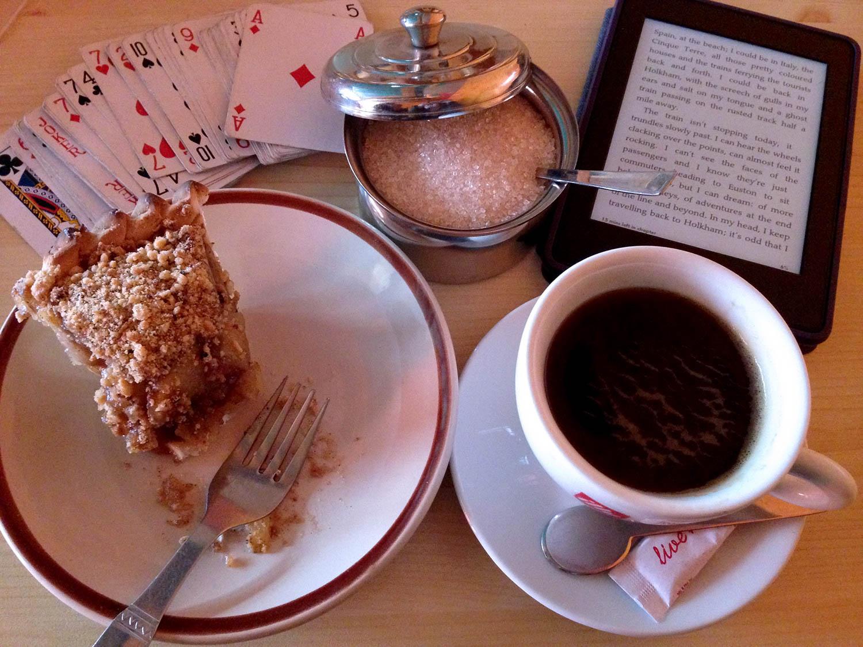 Apple pie and coffee inside a tea house