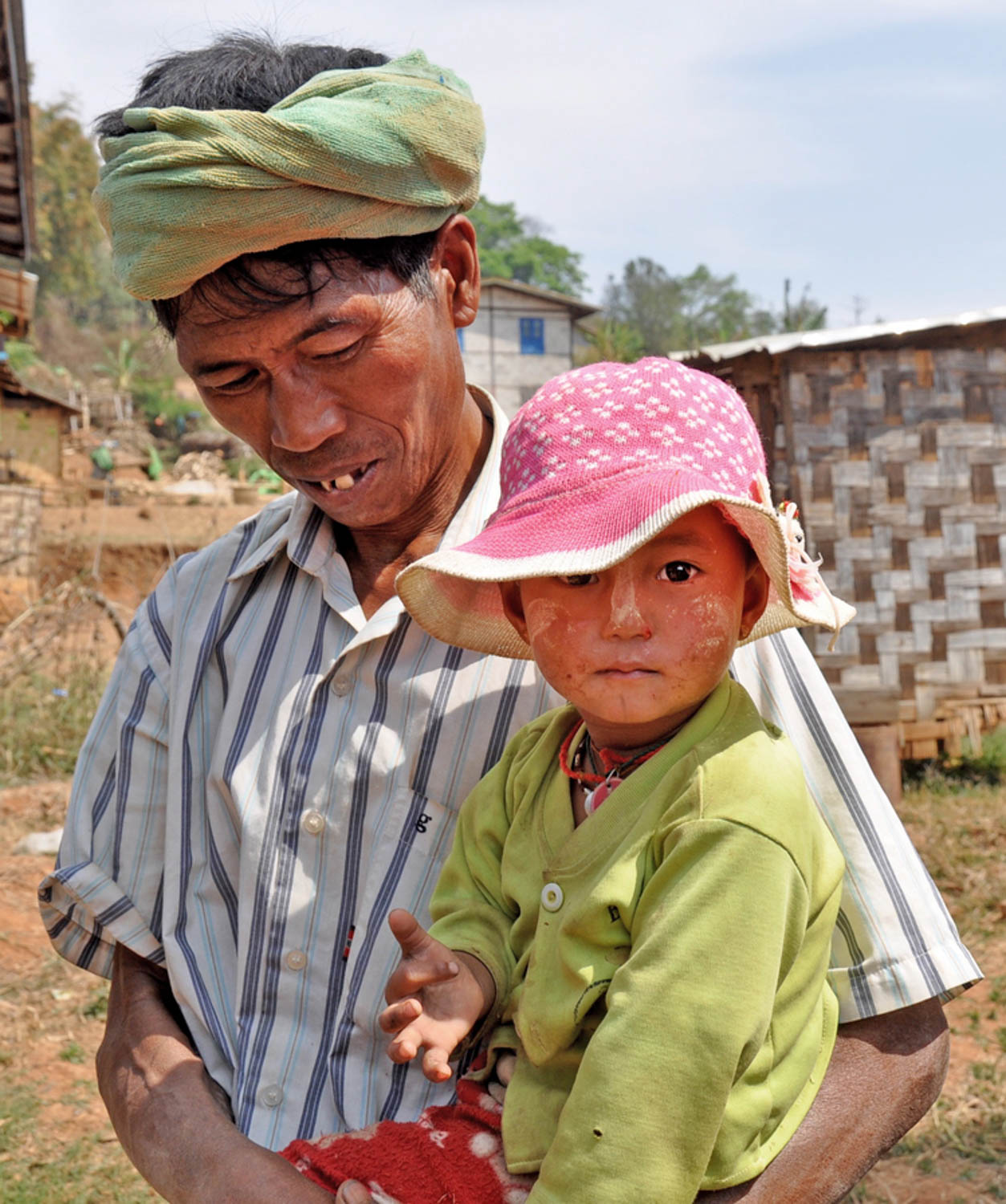 Myanmar father and cute baby