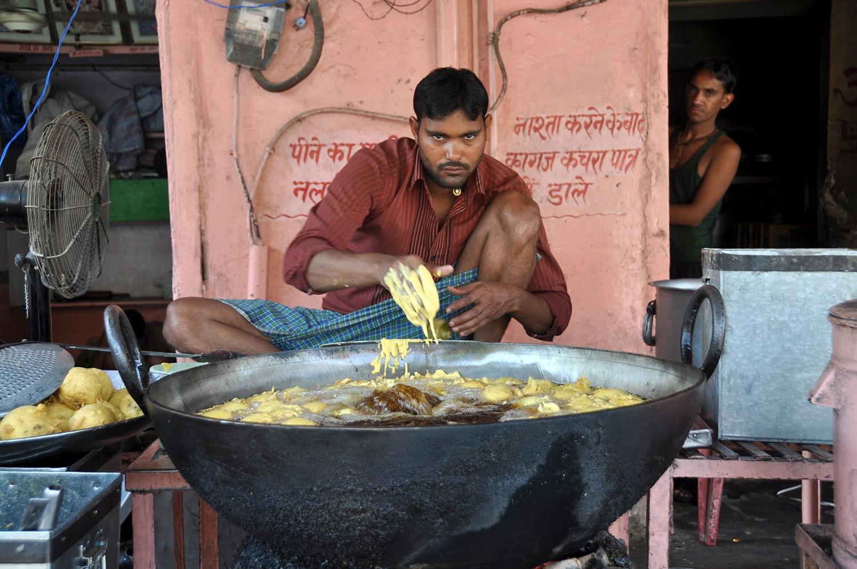 Indian man selling street food