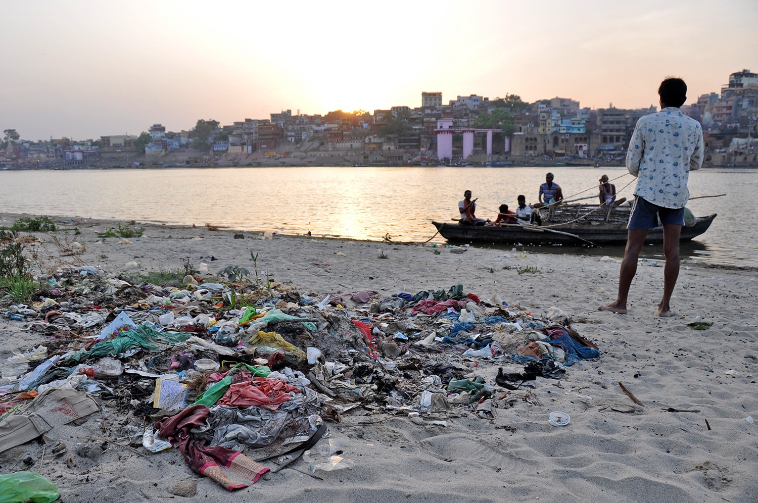 Garbage by the Ganges River in India