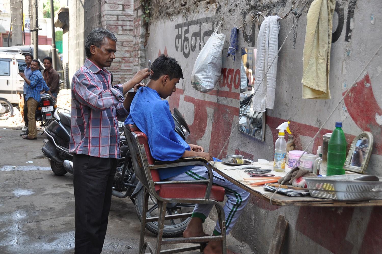 Street side barber in India
