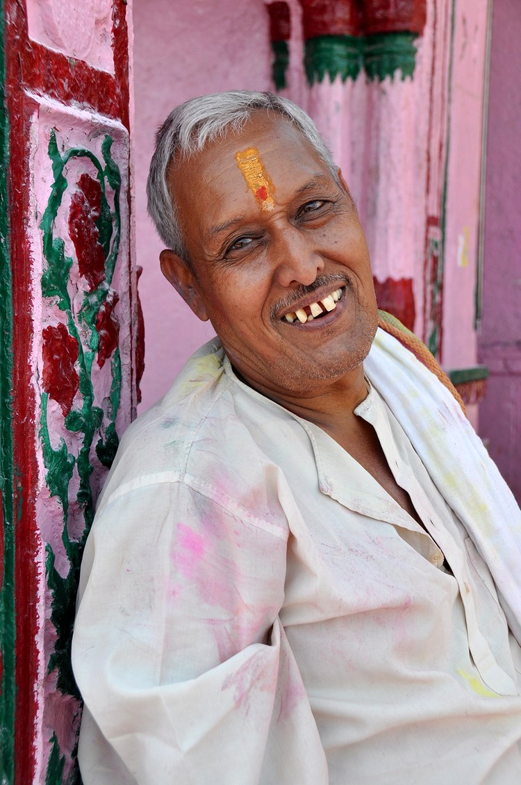 Smiling man in India