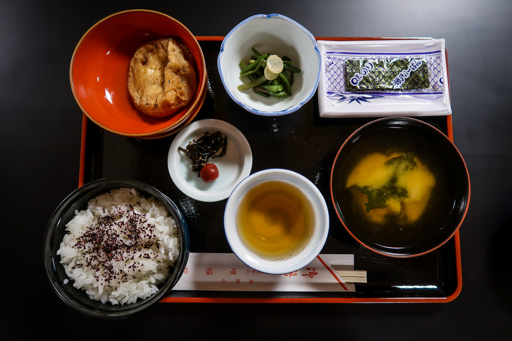 This is a vegan kanseki meal at a temple stay in Koyasan. Most meals at temple stays will be 100% vegetarian, if not vegan.