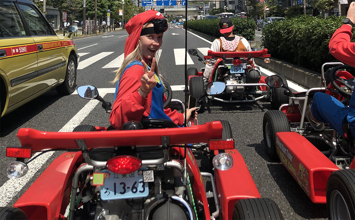 Don't forget your bunch of bananas! Go Karting in Japan.  Photo Credit:  Emily from  Travellers Horizons