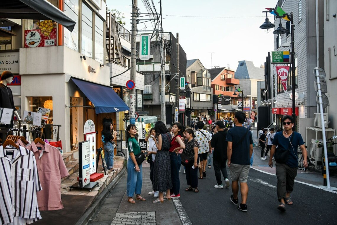 Pictured: One of the less busy streets around Harajuku, which is located between Shinjuku and Shibyua.