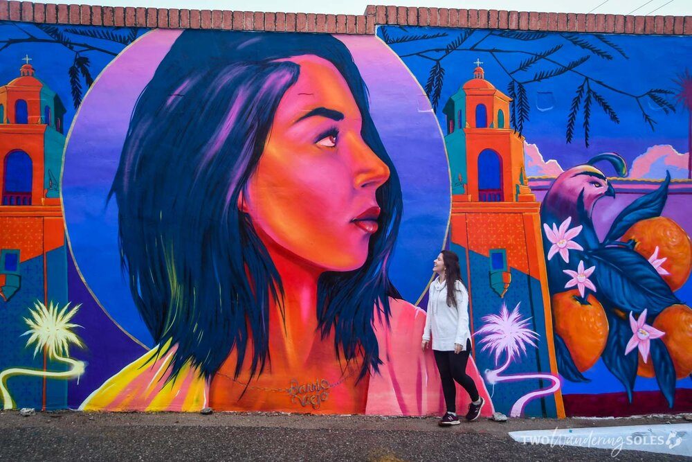 Girl in Barrio Viejo Tucson Street Art