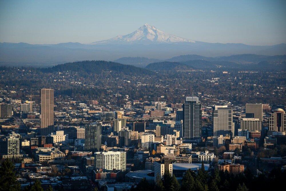 Portland Skyline Mount Hood Travel Blog Income Report