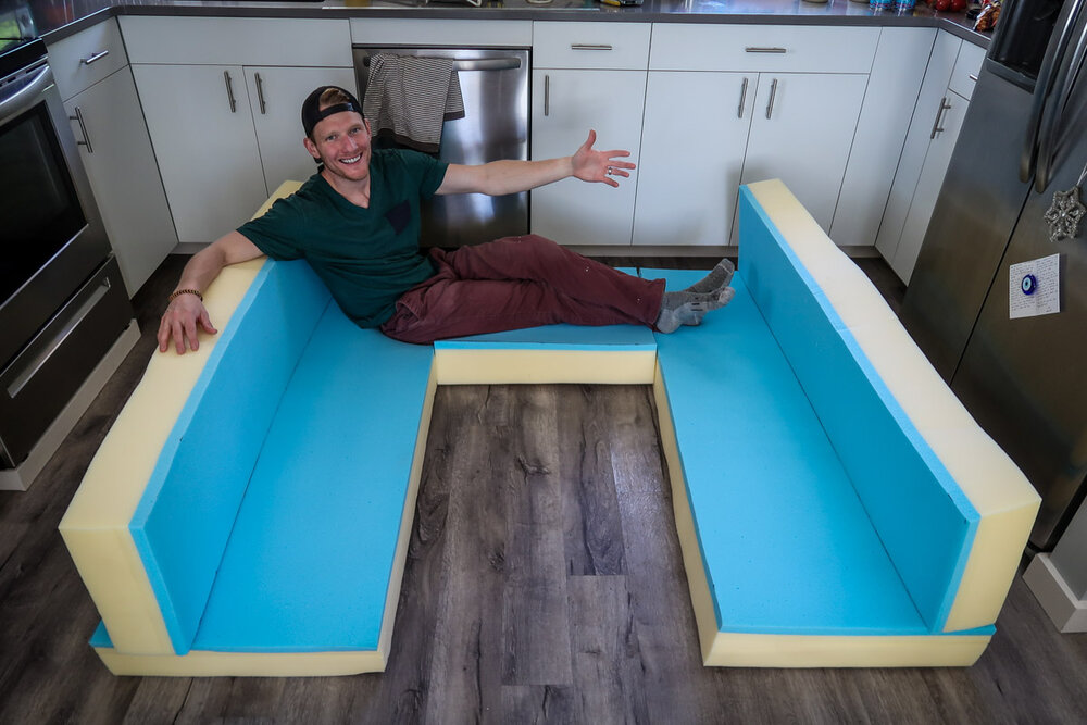 Campervan Cost Foam Mattress Cut into Benches