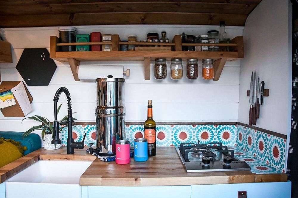 Campervan Cost Kitchen with Wine