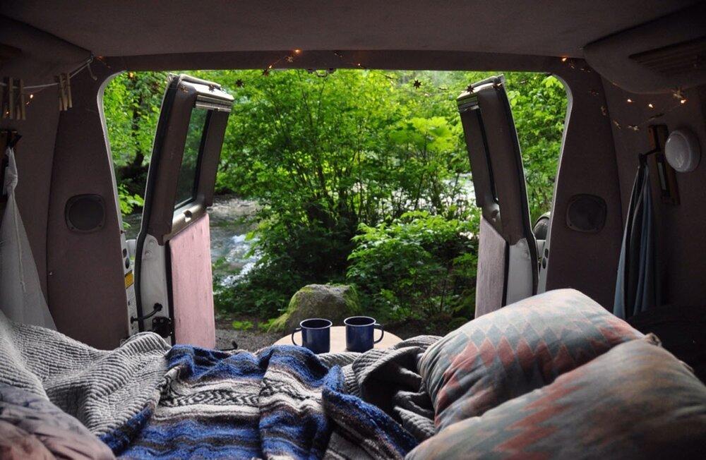 Campervan Costs Back of Van by River