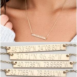 Travel Gifts for Women: Custom Coordinates Necklace
