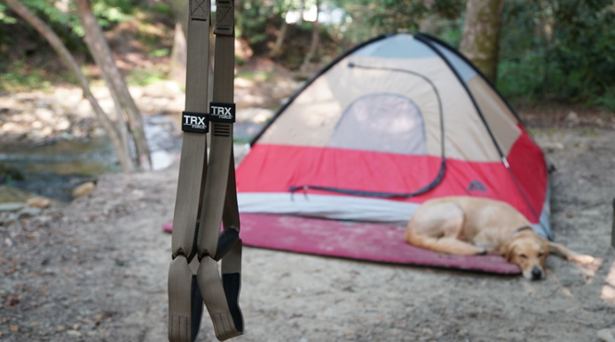 TRX Straps for a perfect camping workout.