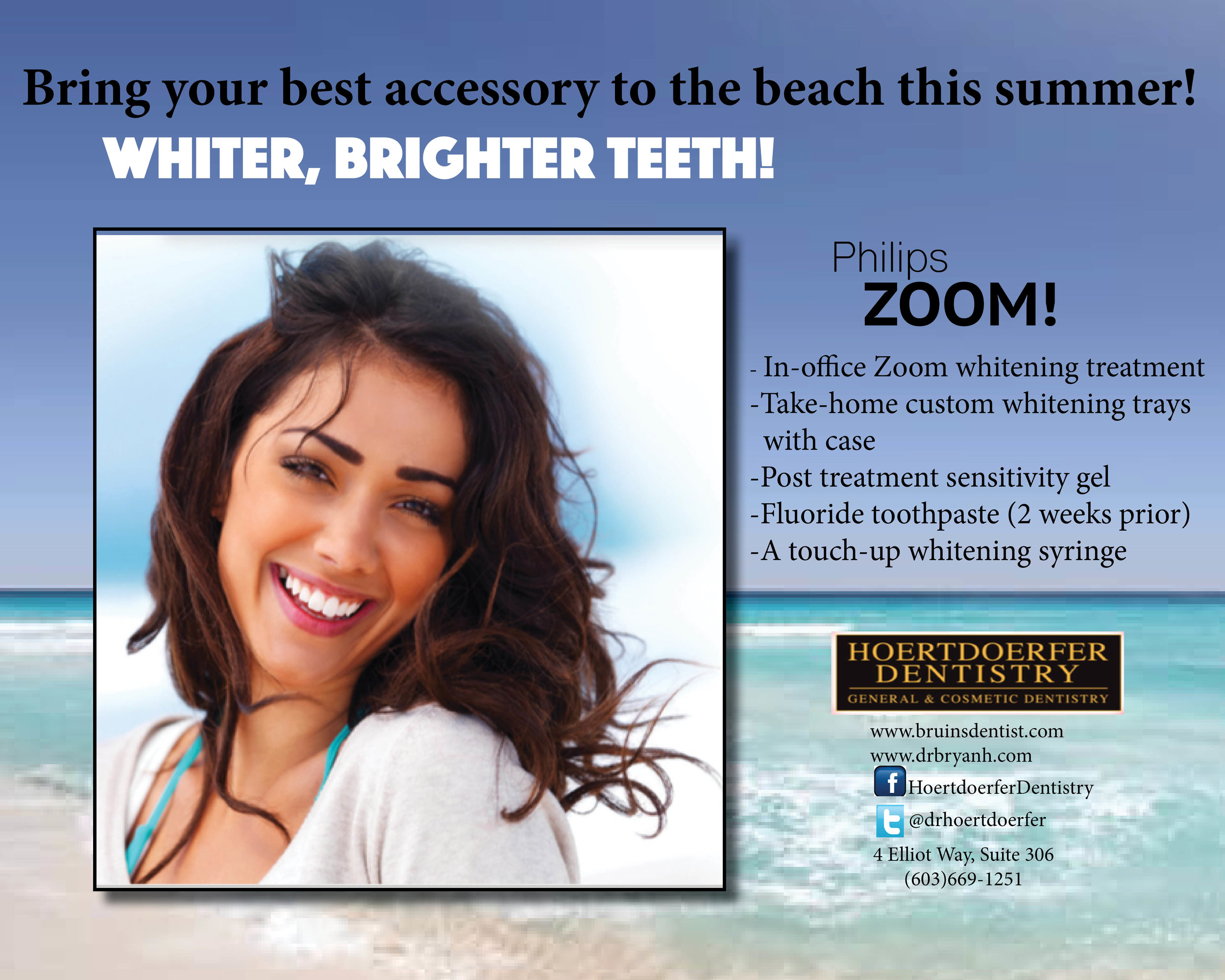Philips Zoom in-office whitening treatment is a quick and safe way to brighten your smile!   Because you deserve a beautiful smile! Call to make an appointment today!