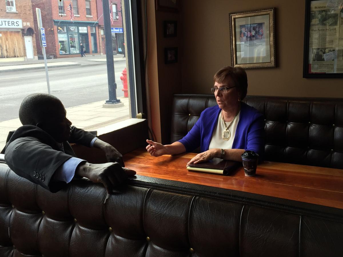 James Manyan and Providence Services of Syracuse President Deborah Hundley discuss the Ride to  Share program. Ellen Abbott/WRVO