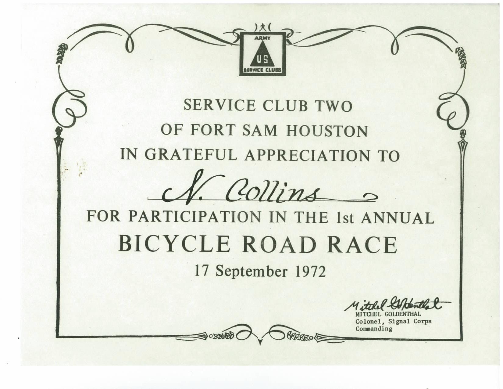 Neal Collins Ft Sam Bike Road Race Cert 1972.jpg
